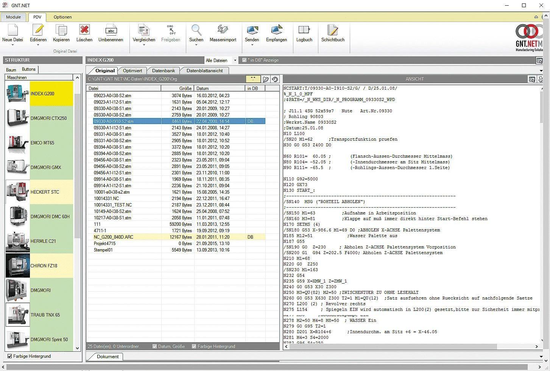 Detailansicht der DNC-Software von GNT-Systems.
