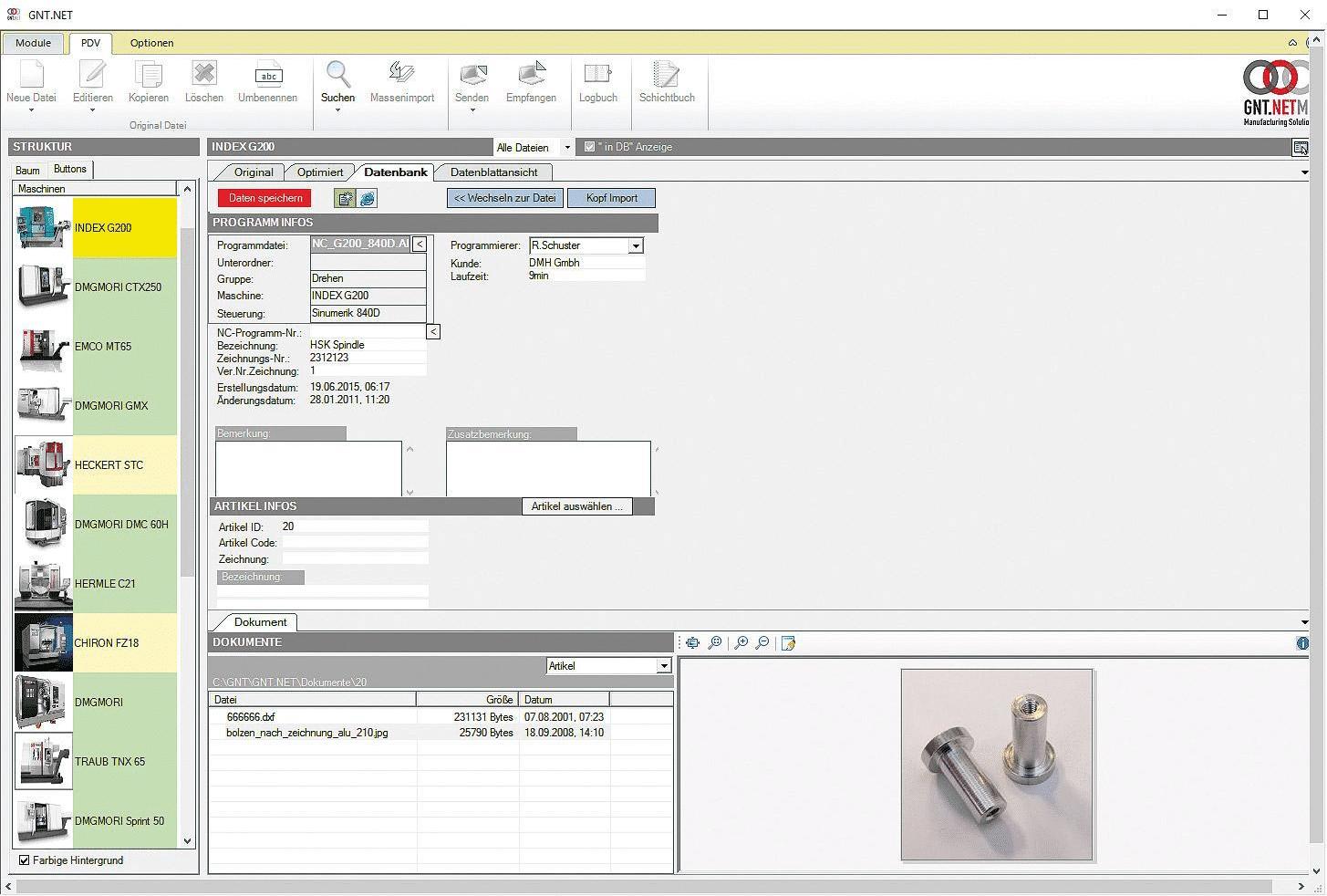 Die NC Programm Daten Verwaltung von GNT-Systems.