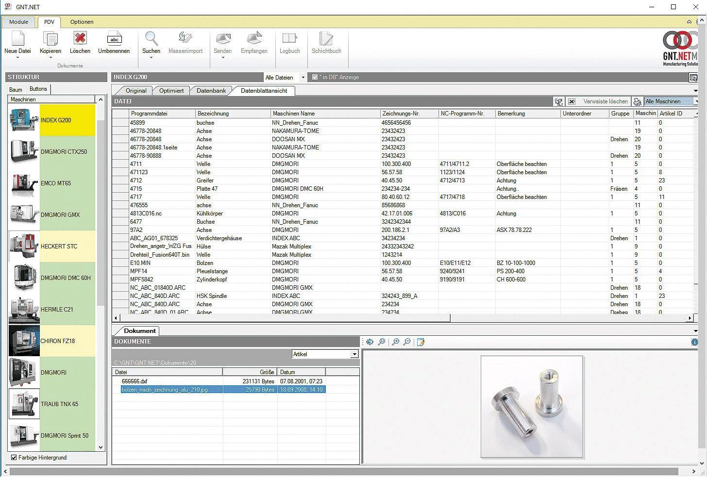 Die Datenblattansicht von GNT-Systems.