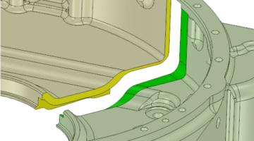 SpaceClaim ermöglicht die Spaltung komplexer Teile in zwei Teile.