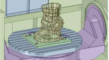 CAD Visualisierung einer Werkstückspannvorrichtung.