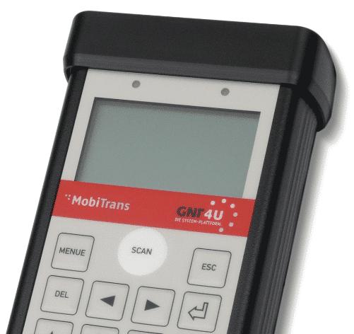 Mit der Scanner-Funktion des MobiTrans mobil Daten übertragen.