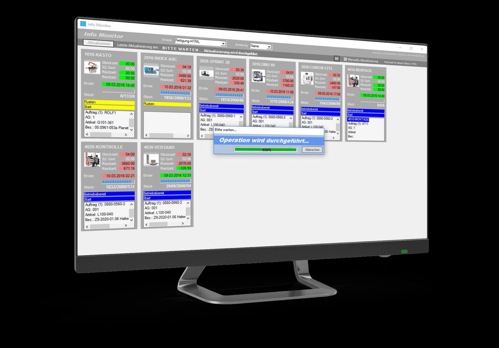 Mit GNT.NET BDE beinhaltet MES One eine übersichtliche Anwendung zur Betriebsdatenerfassung und zum Monitoring Ihrer Maschinen und Handarbeitsplätze.