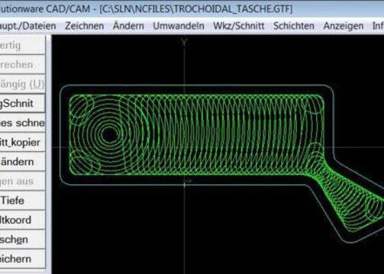 Die MazaCAM Erweiterung Trochoidal ermöglicht Wirbel- oder Taumelfräsen.